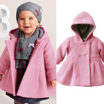 2017 New Winter Baby Coat Fashion Pink Baby Jacket 1-3 Years Children's Coats Soild Hooded Infant Outerwear