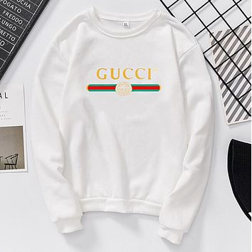GUCCI Classic Popular Women Men Casual Print Long Sleeve Round Collar Sweater Pullover Top Sweatshirt White