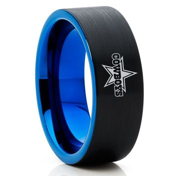 NFL Ring - Dallas Cowboys Ring - Blue Tungsten Ring - Black Tungsten Ring