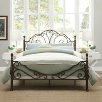 TRIBECCA HOME LeAnn Graceful Scroll Bronze Iron Bed Frame