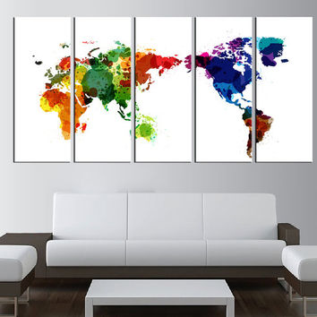 watercolor world map canvas prints, world map wall art, Large wall Art, large canvas print, extra large wall art, sunset wall art  t8b