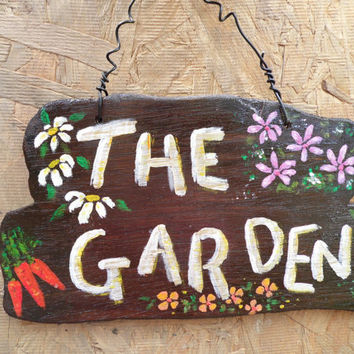 Garden Sign hand painted with flower and veg detail lovely addition to the garden, can be personalised