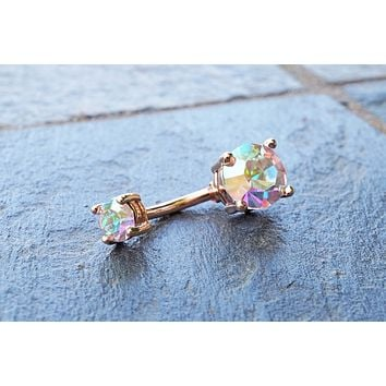 Sparkly Rose Gold Belly Button Ring Aurora Borealis Crystals
