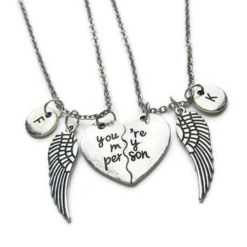 2 Best Friends Necklaces, You're My Person Necklaces, Angel Wing Necklaces,You're My Person Best Friend Necklaces,BFF Necklaces,Personalized