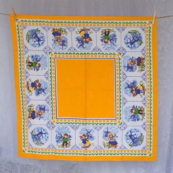 Vintage Baumwolle Tablelcoth Dutch style print, windmill folk art in blue & white, red, green and marigold yellow, Small Square Table Cloth
