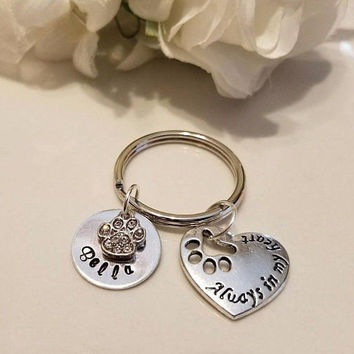 Sympathy, Pet loss, Memorial, Personalized, Hand stamped, Pet loss, Pet jewelry Key chain  Hand Stamped Custom Dog Cat