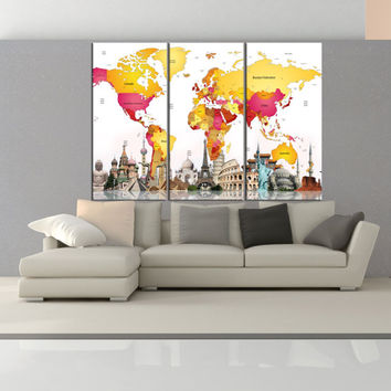 world map Push pin wall art print on canvas for living room, extra large wall art travel map with country name  9s41