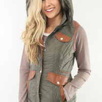 Cabin Fever Olive Puffer Brown Contrast Pocket Vest