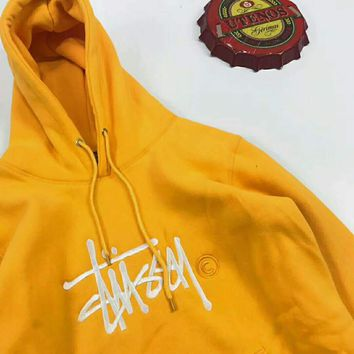 Stussy  Fashion Monogram Print Long Sleeve Hoodie Pullover Sweater G-JJ-LHYCWM