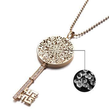 2018 New Year Gift Jewelry For Womens AAA Zircon Stone CZ Set Hollow Key Pendant Necklace Gold Color Chain 70cm Long XL03551