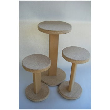 Set of Three Display Wood Hat Stand Table Round Risers Dumbbell Shape Pedestal Cake Food Plate Craft Fair Unfinished Prop