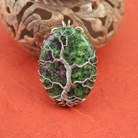 Green and Purple Zoisite silver-plated wire Tree of Life pendant, green tree pendant, green tanzanite pendant