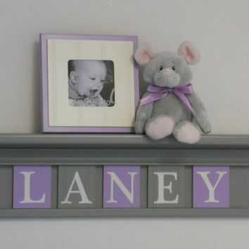 "Baby Nursery Girl Name Sign Shelf 5 Letters, Wall Decor, Nursery Decor, Wall Name Sign - Grey 24"" Shelf with Light Purple and Gray - LANEY"