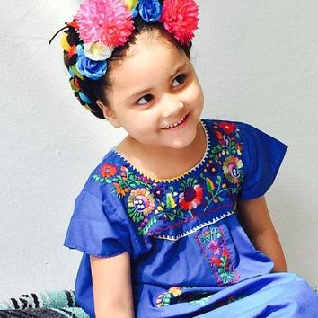 Mexican Dress for Girls Royal Blue