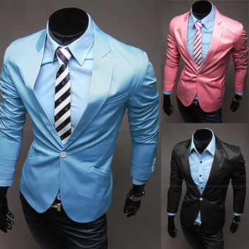 Candy Color Casual Slim Stylish fit One Button Suit men Blazer Coat Jackets men garment