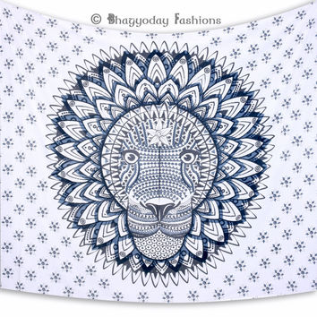 Indian Mandala Tapestry Throw Bohemian Bedspread Hippie Tribal Rasta Lion Wall Hanging