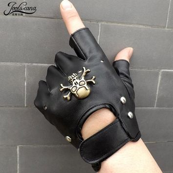 Gloves leather with metal skull cool half finger driving Gloves