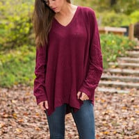 Don't Miss A Thing Sweater, Burgundy