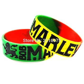 300pcs one inch BOB MARLEY Rasta Colors Lion of Judah silicone wristband rubber bracelets free shipping by DHL express