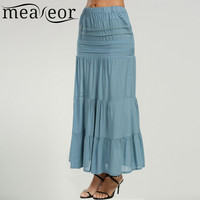 Meaneor Women Bohemia Pleated Skirt Fashion Full length Casual Patchwork Elastic Waist Lace 4 Trim Solid Long Maxi Tiered Skirt
