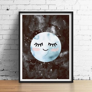 Moon Poster, Moon Kids Print, Nursery Print, Wall Art, Kids Room Decor, Moon Art Print, Baby Print Poster, Nursery Room Decor, Sleeping moon