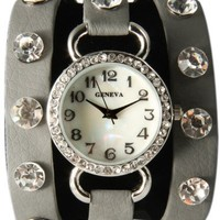Grey Wrap Around Watch with Bling Sparkly White Rhinestones