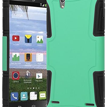 ZTE Lever Z936L Phone Case,  Hybrid  Black Silicone Cover  Teal
