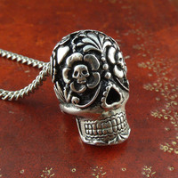 "Day of the Dead Necklace Antique Silver Day of the Dead Pendant on 24"" Antique Silver Chain"