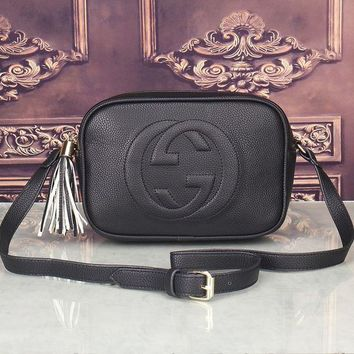 ESBON Gucci' Women Simple Fashion Classic Logo Embossed Tassel Zip Camera Bag Single Shoulder Messenger Bag