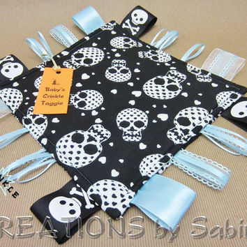 Handmade Baby Taggie Toy Ribbon Sensory Tag Blanket SKULLS & HEARTS by CREATIONSbySabine