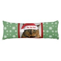 Cute Xmas Cat w/ Santa Cap Green/White Snowflakes