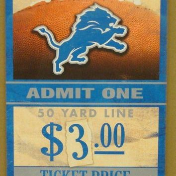 "DETROIT LIONS GAME TICKET ADMIT ONE DEFEND THE DEN WOOD SIGN 6""X12'' WINCRAFT"