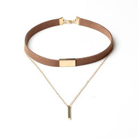 Gold Plated Strip Necklace