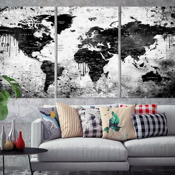 N14454 - Modern Large Black White Wall Art World Map Map Push Pin Canvas Print for Living Room Decor Art- Ready to Hang