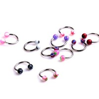 Adored 10 pcs 16/18 Gage Mixed Color U Taper Horseshoe Stainless Steel Ball Cap Stud Ear Nose Nipple Eyebrow Tongue Lip Ring Body Piercing