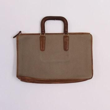 Vintage COACH Canvas & Leather PORTFOLIO / 1970s Slim BRIEFCASE Laptop Tablet Bag