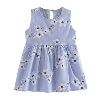 Print Bowknot  A-line Dress For Baby Girl