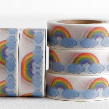 Rainbow Washi Tape, Rainbows and Clouds Scrapbooking Dayplanner DIY Card Idea 15mm x 10m