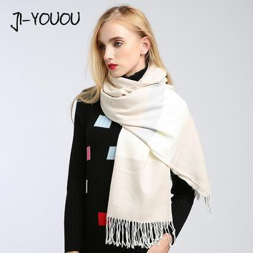 winter ladies scarves women high fashion 2017 shawls and wraps plaid scarf poncho capes crinkle hijab warm cotton women's wool