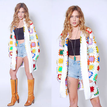 Vintage 70s GRANNY SQUARE Sweater RAINBOW Knit Cardigan Crochet Boho Sweater Hippie Sweater Coat