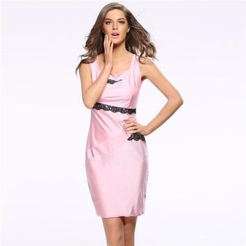 New Womens Sexy Elegant Summer Lace Sleeveless Slim Casual Party Fitted Sheath Bodycon Dress Plus XXXL Hot Sales Pink
