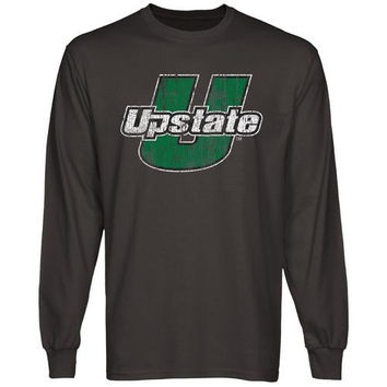 USC Upstate Spartans Distressed Primary Long Sleeve T-Shirt - Charcoal
