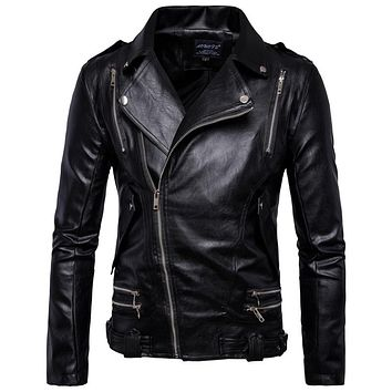 Fashion Men Automotive Leather Jacket and Coats Appear Heavy Design Men Leather Jacket