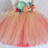 Peach, Mint & Coral Tutu Dress- Turquoise, Flower Girl, Birthday, 1st birthday, Cake Smash, flowers, toddler, baby girl, pageant dress