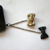 Double Gold & Black Bow iPhone Headphone Plug/ Dust Plug - Cellphone Accessories