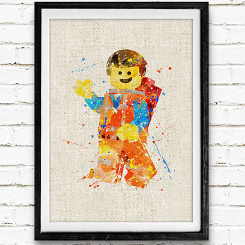 Lego Man Minifigure Watercolor Print, Lego Baby Nursery Decor, Wall Art, Home Decor, Gift Idea, Not Framed, Buy 2 Get 1 Free!