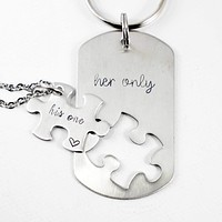 """""""His One"""" &  """"Her Only"""" puzzle piece set"""