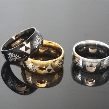 Legend of Zelda Triforce Logo Black Gold Silver choice Metal Fashion Ring jewelry