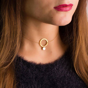 Initial Choker • Circle Choker • Personalized Choker in 14k Gold Filled • Gold Dainty Choker • Mother's Day Gift • 0282NM