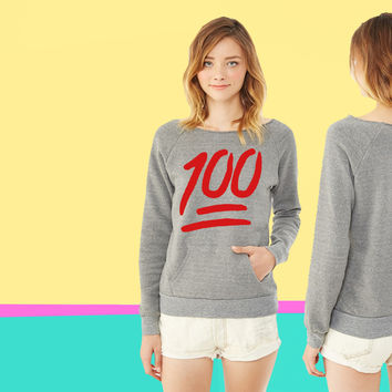 100 emoji ladies Fleece sweatshirt